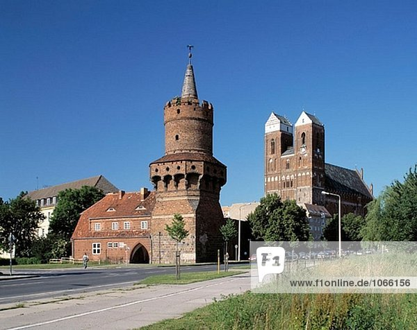 Germany: Prenzlau  Uckermark  Brandenburg  Middle Gate Tower  town tower  Mary Church  brick Gothic
