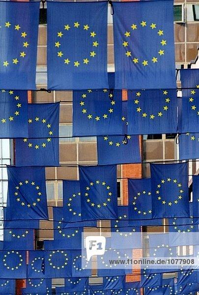 Europäischen Union Flags in Helsinki. Finnland