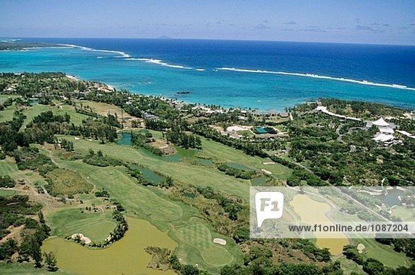 Ostküste Strand Hotel Golfsport Golf Fernsehantenne Kokos Kurs Mauritius