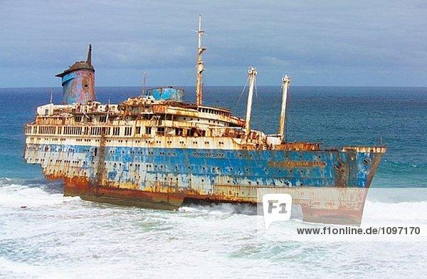 sternförmig Strand amerikanisch Kanaren Kanarische Inseln Ruine Verfall Fuerteventura Januar Spanien