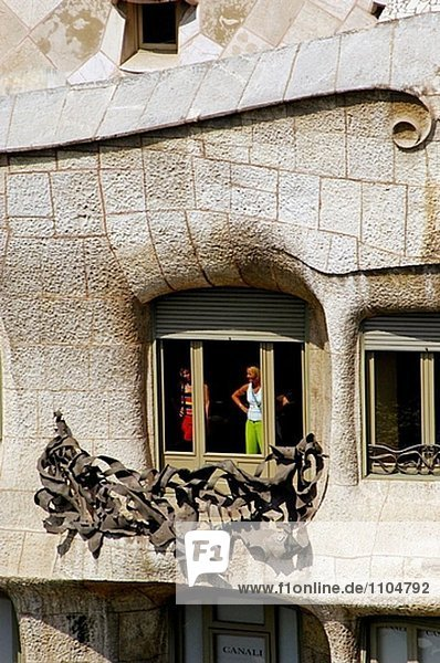 hoch oben nahe Fassade Hausfassade Barcelona Spanien