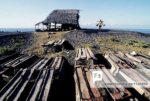 Produktion Insel Bucht Indonesien Speisesalz Salz