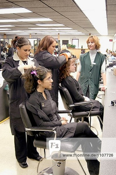 High school students in alternative cosmetology class.