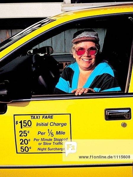 USA. NY  Manhattan. Female cab driver