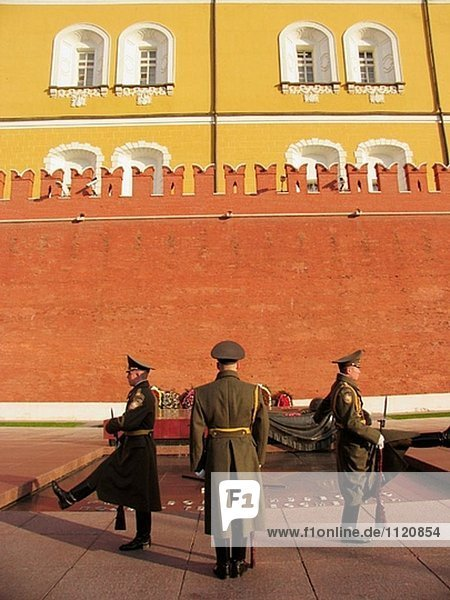 Moscow  Russia  Tomb of Unknow Soldier  outside Kremlin wall  changing of honor guard soldiers.