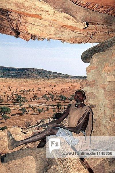 Ältere Rat. Clay Architektur. Dogon-Land. Mali.