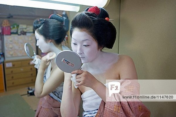 ´Maiko´ (Geisha Azubi) aus dem Odamoto Teehaus (o-Chaia) in Gion  Kyoto. Kansai  Japan