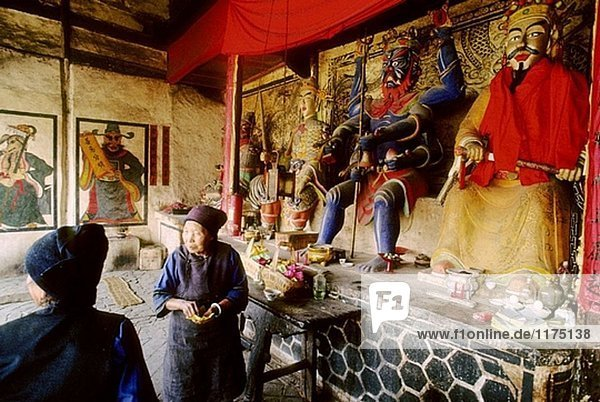 Tempel der Bai Religion (ein Satz von Synkretismus Überzeugungen mit einer starken lokalen Geschmack  vertreten durch die Benzhu oder lokalen Lords Religion  Zhou Cheng Dorf  Provinz Yunnan  China.