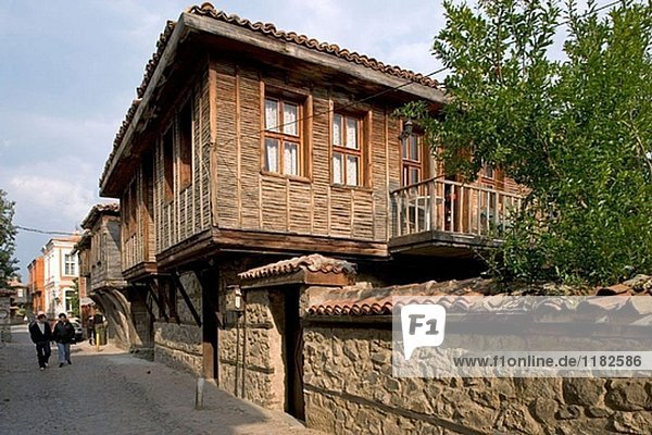 Traditional houses in Sozopol  Black Sea coast. Bulgaria