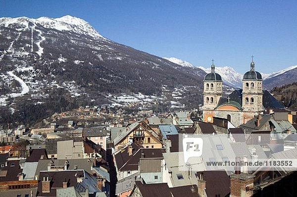 Town View & Collegiale Notre Dame Church. Morning. Europe´s Highest Town (elev. 4334Ft/1321 M). Briançon. Haut-Alpes. French Alps. France.