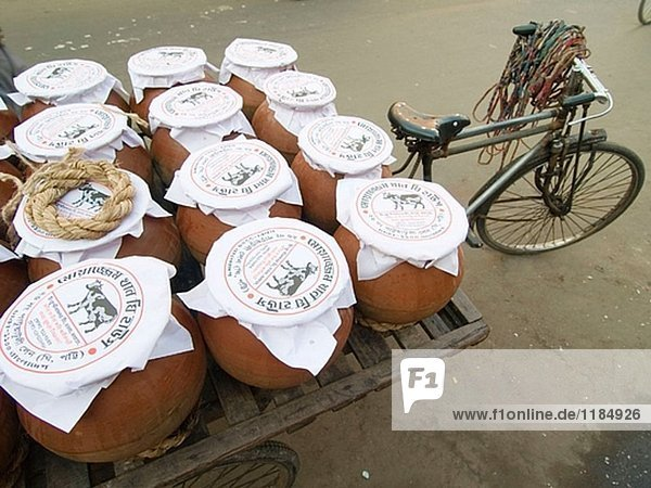 Fahrrad-Lieferung von Joghurt in Dhaka  Bangladesch