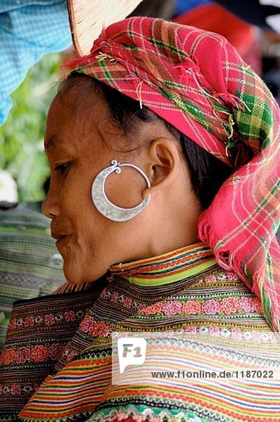 Hmong market. Lao Cai road. North Vietnam.