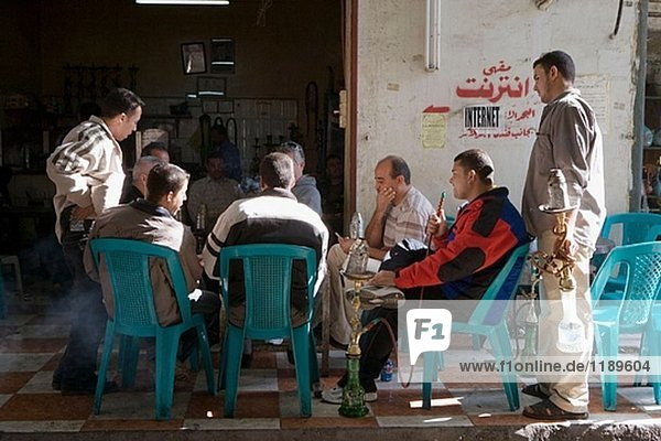 Cafe in the souks (markets). City of Aqaba on the red sea. Kingdom of Jordan