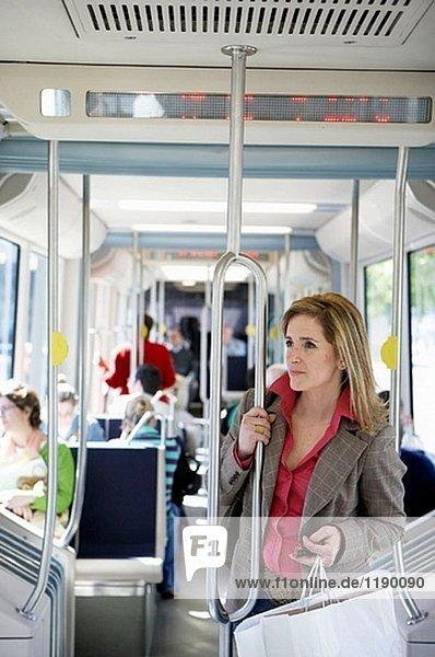 Commuters. Tramway. Bilbao  Bizkaia  Euskadi. Spain.