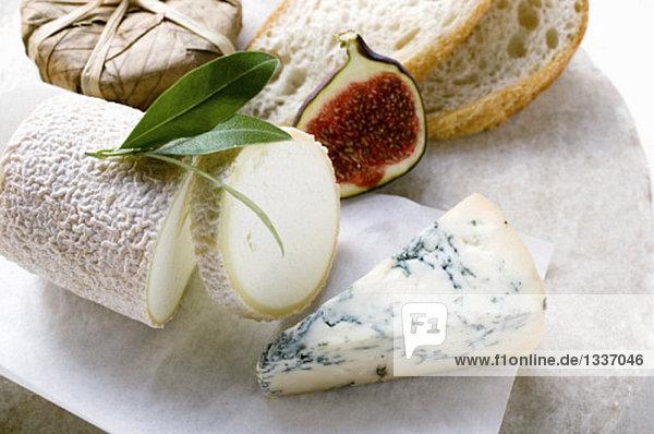Käsestilleben mit Brot und halber Feige