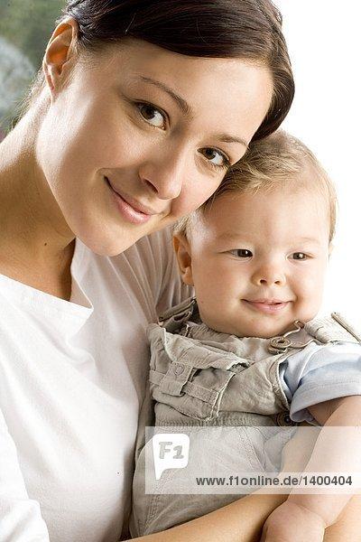 portrait of infant with mum