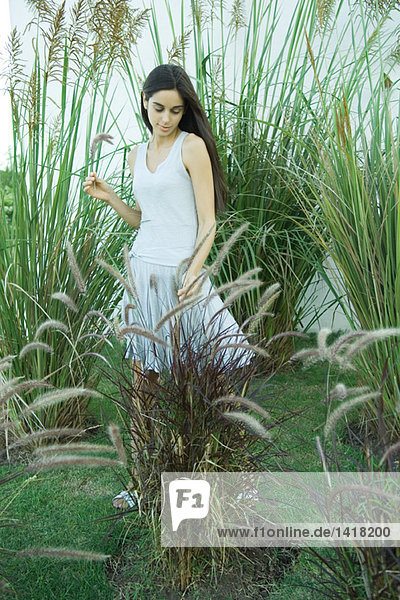 Woman standing among long grasses and reeds  full length