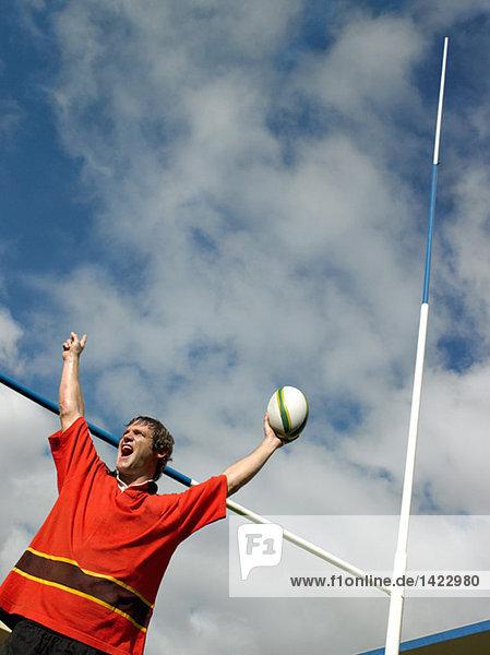 Rugbyspieler beim Feiern