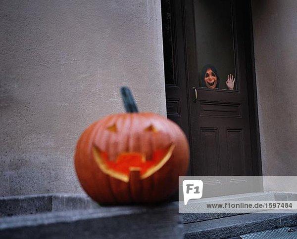 Einen Kürbis während Halloween Schweden.
