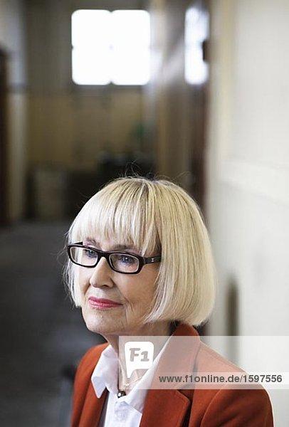 Portrait einer versonnen ältere skandinavischen Frau.