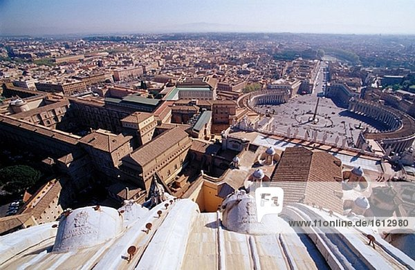 St. Peter´s Square seen from St. Peter´s dome. Rome. Italy