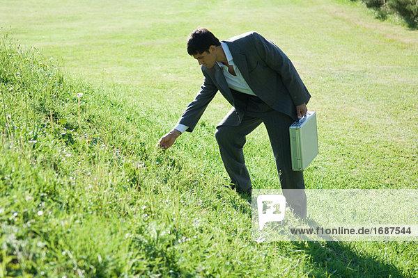 Kaufmann einstehen grasbewachsenen Hügel  biegen auf Touch Gras