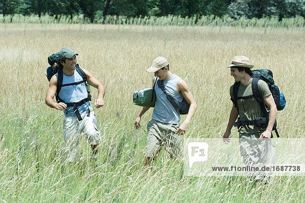 Hikers walking through field