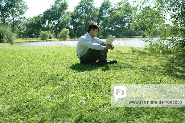 Businessman sitting on Grass  Buch