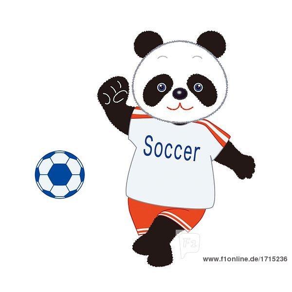 Panda treten einen Fußball