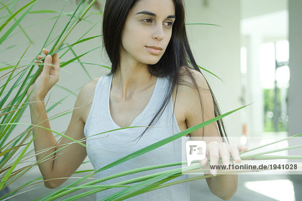 Young woman  looking away  parting long stems of plant  head and shoulders  portrait