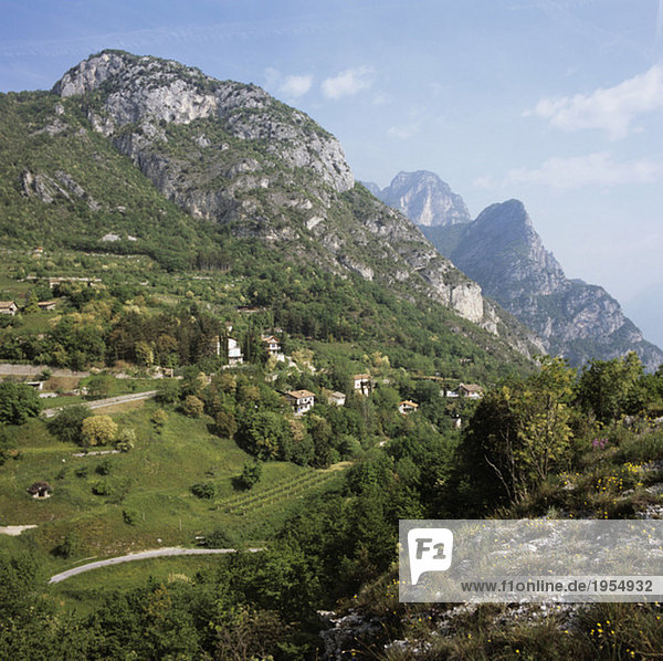 Italien  Gardasee  Blick auf Pregasina