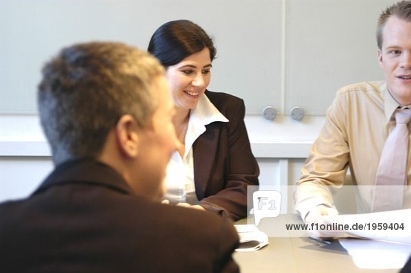 Positive colleagues in a meeting