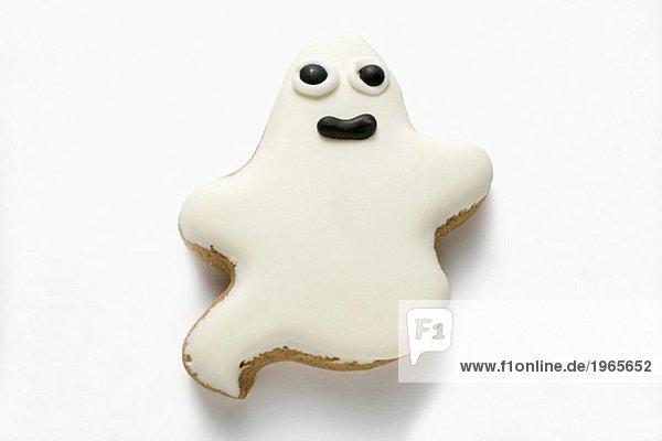 Ein Gespenster-Plätzchen mit weisser Glasur für Halloween