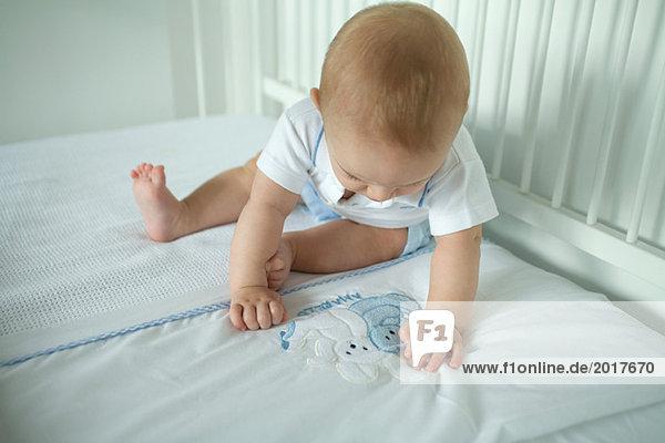 Baby in der Krippe  Häschen auf der Decke betrachtend