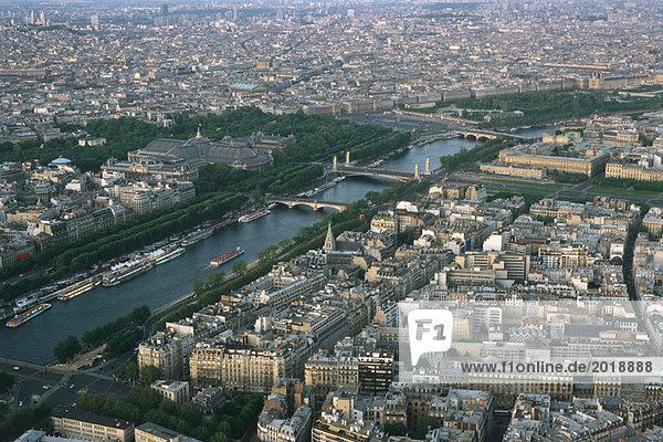 Paris  Frankreich  Luftaufnahme der Seine