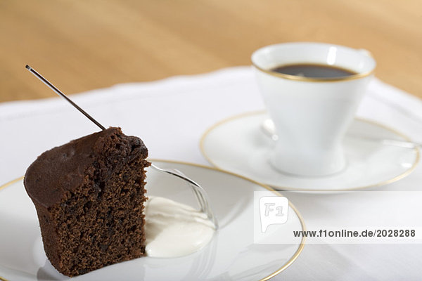 A cup of coffee an a piece of cake