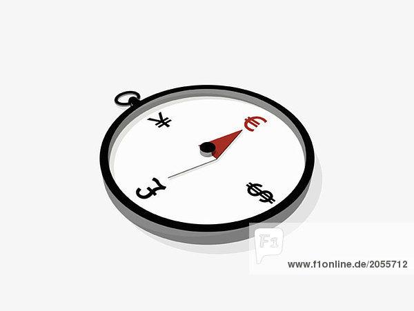 Ein Kompass  der auf ein Euro-Symbol zeigt.