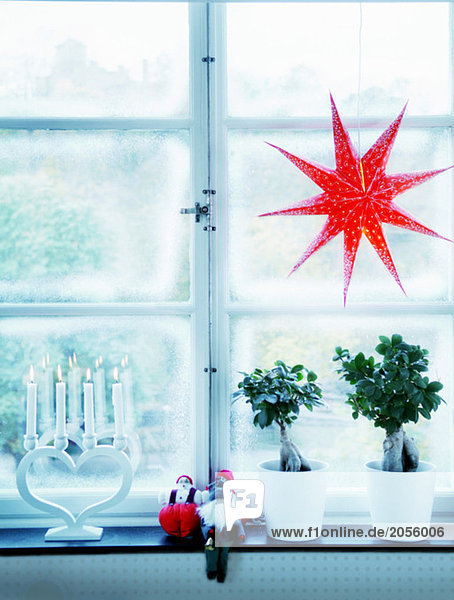 Christmas star and advent candlestick in window