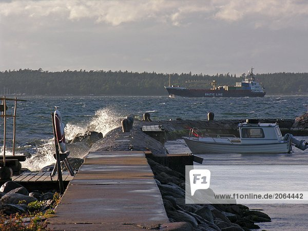 Fishing boat sailing in sea under overcast sky  Oeland  Sweden