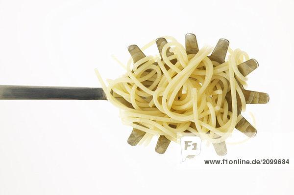 Spaghetti auf Kelle  Nahaufnahme