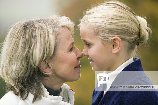 Germany  Baden-Württemberg  Swabian mountains  Grandmother and granddaughter  portrait