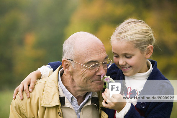 Germany  Baden-Württemberg  Swabian mountains  Grandfather and granddaughter  portrait