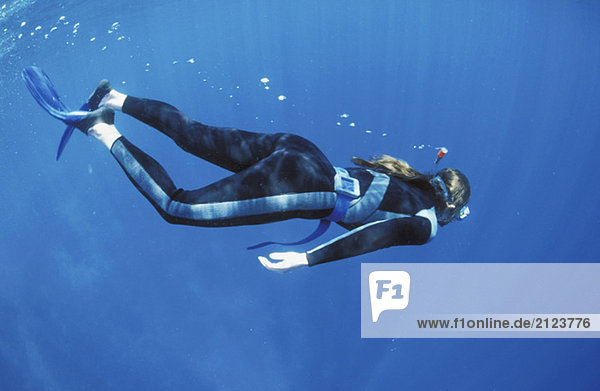 Female diver under water