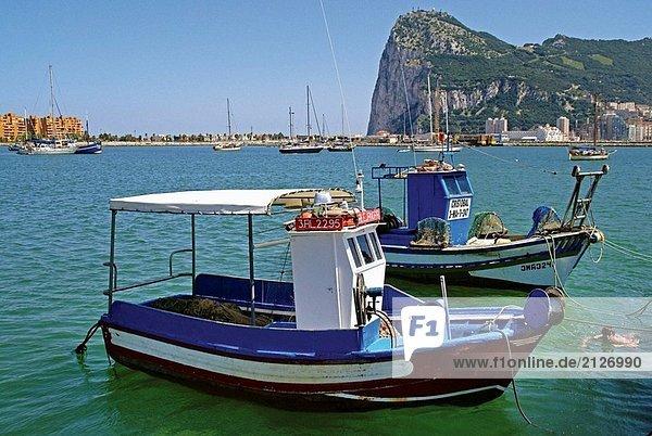 In La Linea  Blick auf den Felsen von Gibraltar. Provinz Cádiz. Andalusien. Spanien.