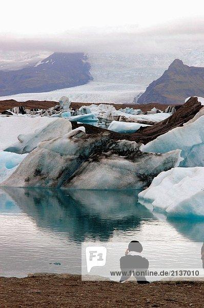 Jökulsárlón  Gletscher Lagune. Breioamerkurjokull Gletscher  ein Teil der Vatnajokull-Gletscher  der größte in Europa. Skaftafell-Nationalpark. Island.
