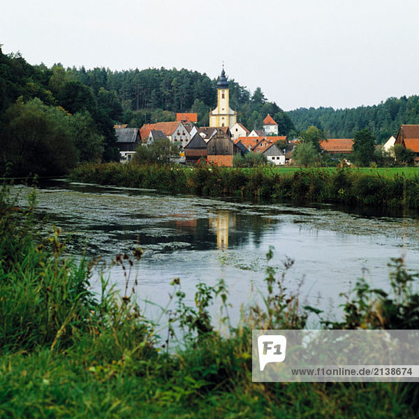 Germany  Bavaria  Waischenfeld  landscape of the Wiesent river in the Wiesent Valley