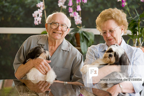 Senioren halten Haustier Hunde