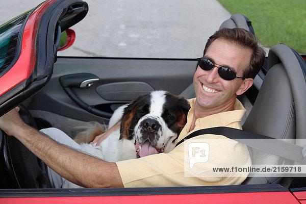 Mann mit einem Hund in ein Cabrio