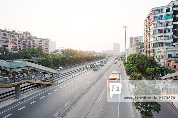 China  city thoroughfare  high angle view