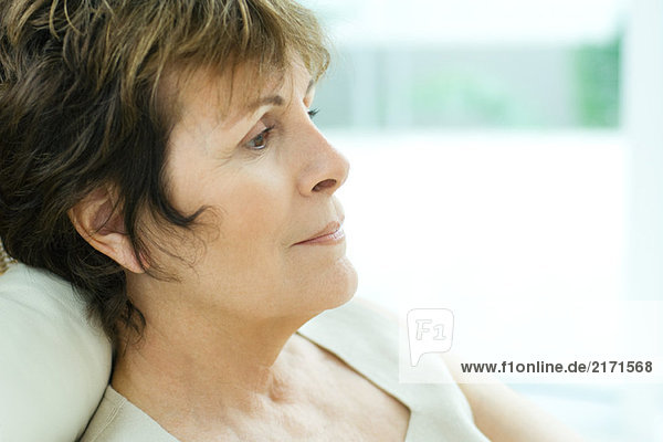 Senior woman  sitting  side view  head and shoulders